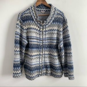 J. Jill Angora Fleece Full Zip Sweater Jacket Blue